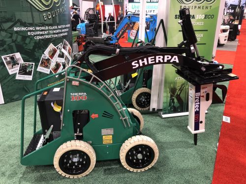 Sherpa 100ECO w/ Non Marking Tires Kit + Grapple, Pallet Forks & Hammer