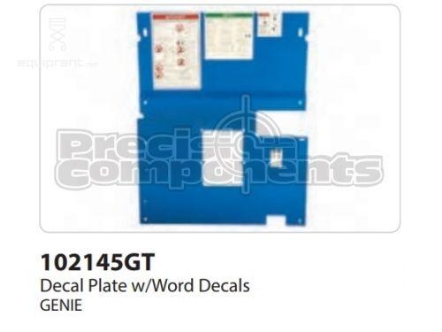 Genie Decal Plate, w/Word Decals, Part #102145