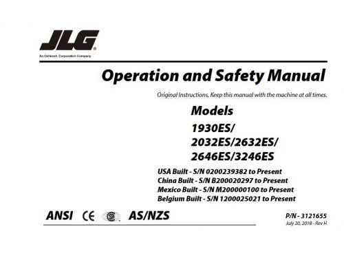 Buy 2018 JLG Illustrated Parts Manual: 1930ES (P/N 3121681) Scissor