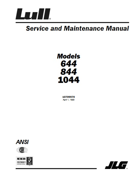 Buy 1989 JLG Service And Maintenance Manual 644 844 And