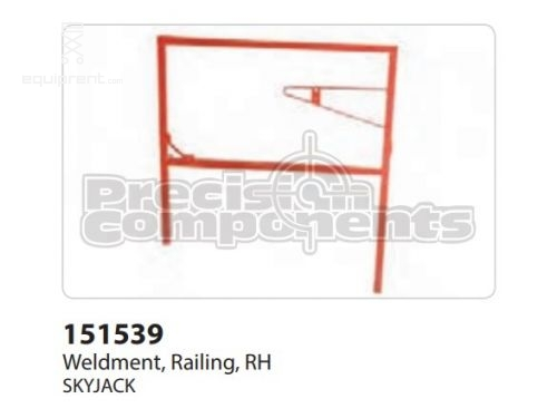 SkyJack Weldment, Railing, RH, Part #151539