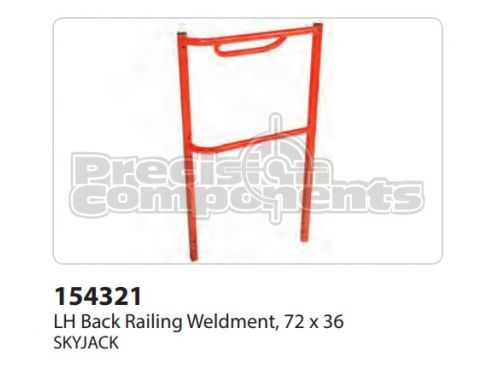 SkyJack LH Back Railing Weldment, (72 x 36) - Part Number 154321